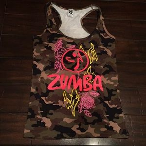 Zumba fitness camo tank top RARE instructor racer